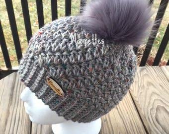 Handmade Faux Fur Pom Pom Beanie Gray Grey Aran Tweed Fisherman Nordic Hat Wood Button Crochet