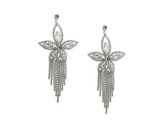 CZ  Fringe Drop Earrings , Swarovski Chandelier earrings ,Wedding earrings, Crystal earrings, Floral earrings, Dangle earrings, Silver