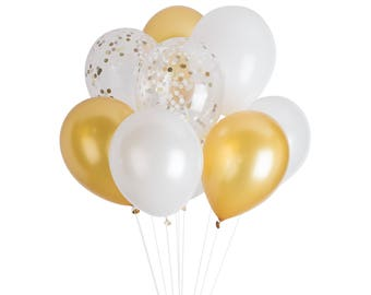 Gold Confetti Balloons, Gold Latex Balloons, Gold Baby Shower Decorations, Gold Engagement Party, Gold Bridal Shower Balloons