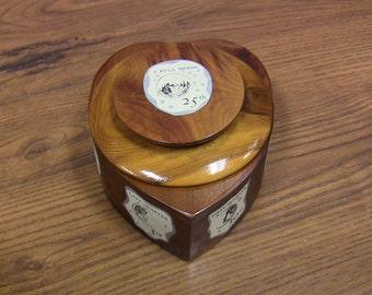 Vintage Cedar Trinket Box Heart & Moon