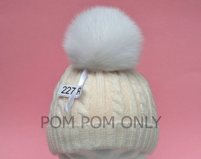"5"" HIGHEST QUALITY FOX Pom Pom! Super Soft, Shiny Fur, Fox Pom-Pom, White Fox Pompom, Fox Pom Pom, Pom Pom for Hat, Children, Cap, Beanie"