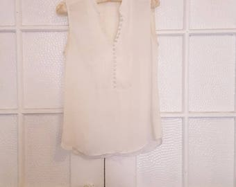 Vintage White Cloth Button-Down Blouse