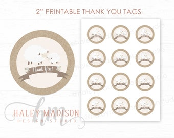 Little Lamb Thank you tags, Little Lamb baby shower favor tags, Lamb labels, Gender Netural baby shower tags, Floral lamb, PRINTABLE FILE