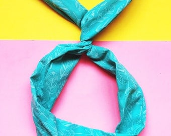 Teal Feathers Wire Headband