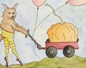 NEW - Werewena the Werewolf.  Day 1 of Mab Graves Drawlloween Club.  Original, Watercolor, Halloween Art