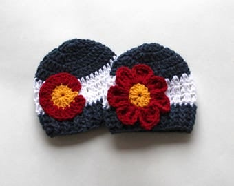 Colorado Hat, Colorado Flag, Kids Hats, Baby Hats, Adult Hats, Infant Hats, Crochet Colorado Hat, Baby Beanies, Newborn Hat, Crochet Hat