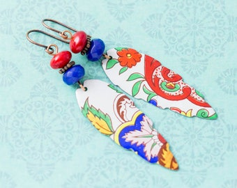 Long Colorful Bohemian Vintage Tin Earrings with Red and Blue Beads, Antique Copper, Boho Jewelry