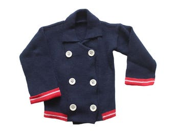 FRENCH VINTAGE 70's / for kids / nautical knitted jacket / new old stock / size 8 years