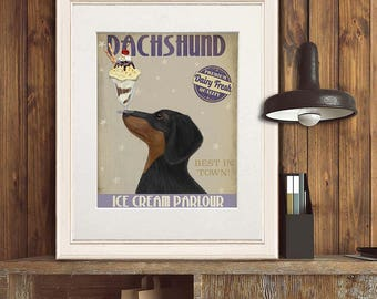 Doxie lover gift - Dachshund black and tan ice cream dog - Dachshund gift Dachshund art Doxie lover Doxie decor Dachshund decor Doxie dog