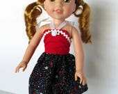 Handmade 14.5 Inch Doll Clothes- Red, White, Blue Stars Print Sundress made to fit 14.5 inch dolls such as Wellie Wishers