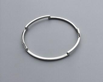 Silver Bangle // stepped bangle // geometric silver bangle // sterling silver bangle //