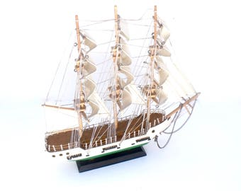 Vintage French Sailing Ship model Tall ship Pirate Wood masts Canvas Sails -Great display piece
