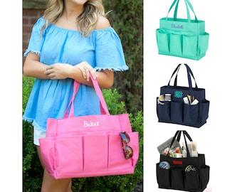 Monogrammed Tote Bag Organizing Utility Tote Personalized Diaper Bag Teacher Bag Nursing Bag Gardening Bag Pink Mint Navy Black Pocket Bag