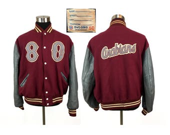 Vintage 1980 Wool ARABIANS High School Letter Jacket XL // 80s // High School Jacket // Throwback // Dave // Synthetic Leather // Indiana