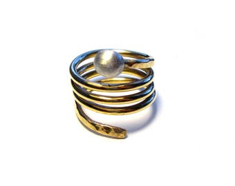 Ring, Gr. 57, wrap ring gold plated, US size 8.0, wide gold-plated spiral ring, winding gold plated spiral wrap ring