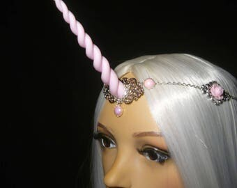 Pastel Rose Unicorn - Tiara with handsculpted pearlescent horn