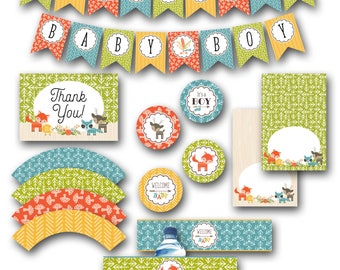 Woodland BABY SHOWER Printable Party Package, Boy Forest Animal Theme, Instant Digital Download, Printable Party Kit, Fox Theme Bundle, DIY
