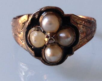 Antique Georgian Ring, diamond and 4 natural pearls, 15ct solid gold rose, black enamel, memento mori, mourning ring, first half of 1800
