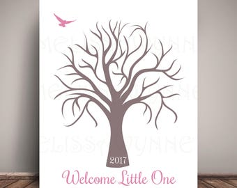 Pink Nursery Art GuestBook Alternative, Baby Shower Guest Book = Thumbprint Tree