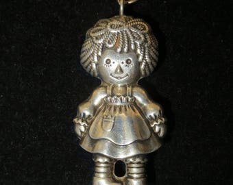 Vintage 1975 Raggedy Ann Sterling Bobbs Merrill Necklace Pendant - Free Shipping