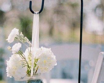 Wedding Hooks. Garden Shepherd Hooks. Mason Jars Holder. Tissue Pom Pom's. Outdoor Wedding. Shepherd Hook. Rustic Wedding Decor. Garden Stak