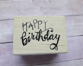 Happy Birthday Wood Mounted Rubber Stamp By Printworks Scrapbooking & Paper Craft Supplies