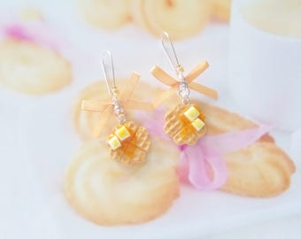 earrings waffle butter and maple syrup polymer clay