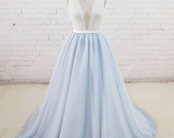 Fairy Wedding Dress with Sheer Back Summer Wedding Dress Light Blue Tulle Wedding Romantic Lace Wedding Dress