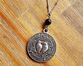 God Odin's Two Ravens Huginn and Muninn Silver Pendant Necklace raven crow Norse viking pagan ancient mythology