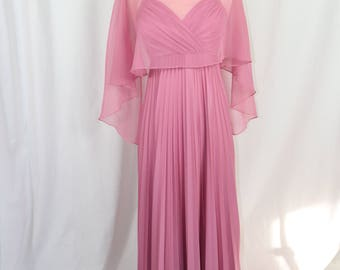 Vintage Pink Spaghetti Strap Dress with Sheer Overlay