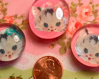 3 Betsy the Kitty Cat Kitten Glass Magnets Locker Refrigerator Kitschy Kitsch Decor Decorations Vintage Retro Gift by Sweet Vintage Designs
