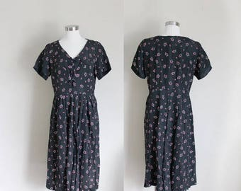 1940s Black Dress | Floral Dress | Shirtwaist Dress | Flower Print | Medium