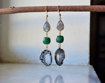Agate druzy earrings, agate earrings, agate slice earrings, gemstone earrings, agate dangles, agate druzy dangles, labradorite earrings