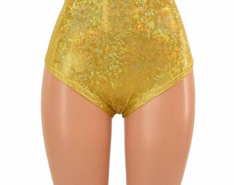 "High Waist ""Siren"" Hot Pants in Gold on Gold Shattered Glass Holographic Spandex Rave Festival Clubwear Sparkly Shiny - 155057"