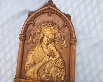 Vintage Our Mother of Perpetual Help Plaque, Barwood, Faux Wood Carved, Religious Relief Lady Madonna, Virgin Mary & Child Jesus Religious