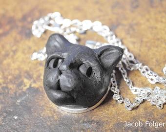 Cat Jewelry, Black Cat Jewelry Pendant, Black Cat Jewely, Cat Jewelry, Cat Pendant Necklace, One of a Kind Cat Necklace, Artist Signed