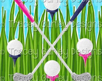 Golf digital paper, pink and navy, preppy digital paper, golf clubs, golf balls, digital scrapbooking, digital download, golf art