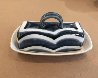 Hand built stoneware butter dish: blue and white