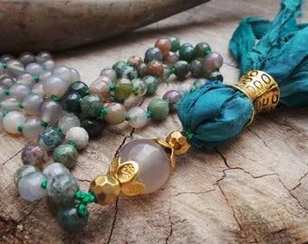 Mala necklace. Mala 108. Gemstone mala necklace.  Hand knotted mala necklace. Yoga jewelry.  Indian agate mala necklace.