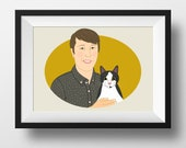 Cartoon me. Portrait with pet. Pet memorial. Best Gift for him/her. Gift for pet mom. Portrait with dog/cat. Gift for dog or cat lovers.