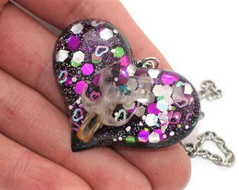 TaxidermyMouse Skull Necklace Holographic Goth Pendant Weird Strange Oddities and Curiosities