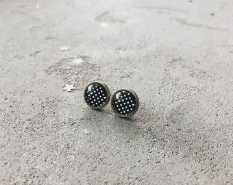 Polka dots stud earrings, monochrome print, black and white posts by CuteBirdie