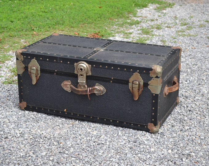 Vintage Black Footlocker Storage Trunk Wood Textured Vinyl Covering Rivets Metal Hardware Drawer Coffee Table PanchosPorch