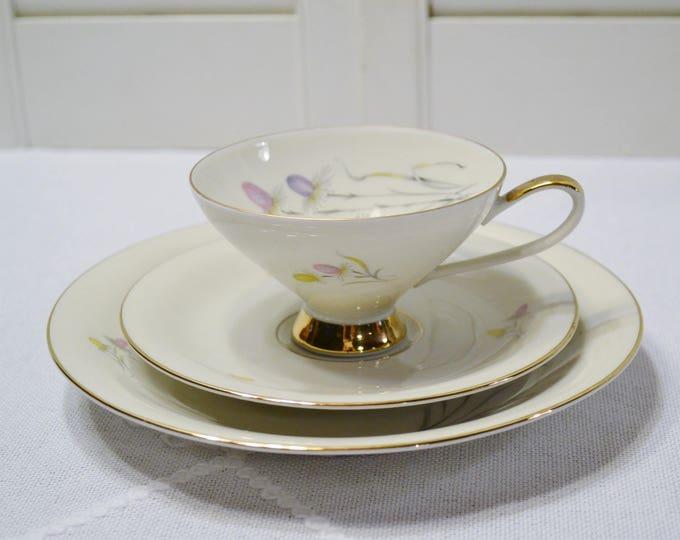 Vintage Johann Seltmann Tea Trio Teacup Saucer Plate Dish Pink Purple Yellow Floral Bavaria PanchosPorch