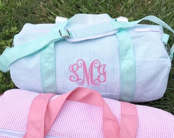 Monogrammed Duffle Bag | Personalized Seersucker Kids Barrel Bag | Great for Sleepovers, Camping, Ballet Bags, Weekend Duffel