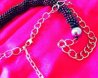 Tubular Beaded Necklace / Tubular Peyote Necklace / Handmade Jewelry / Metal Chain Necklace / Free Standard Shipping