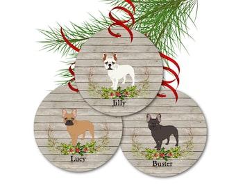 French Bulldog Ornament, Personalized Dog Christmas Ornaments, Dog Memorial, French Bulldog Gifts, Frenchie Gift, Dog Christmas Gifts