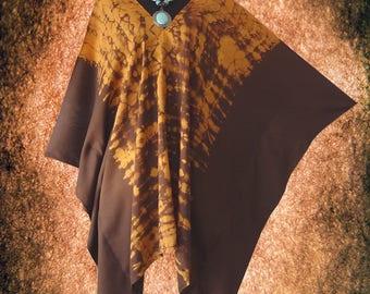 Bleach Effect Shibori V neck Tie dye Poncho Top blouse