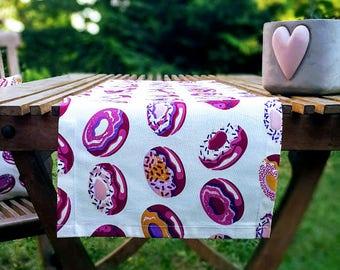 Purple Donut Print Table Runner, Premium Cotton table runner, Water Resistant Stain Resistant Runner, Donut Party Table, Party table runner