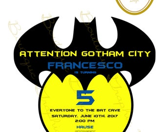 Batman Invitation - Boy Superhero Printable Party Decor - Superhero Party